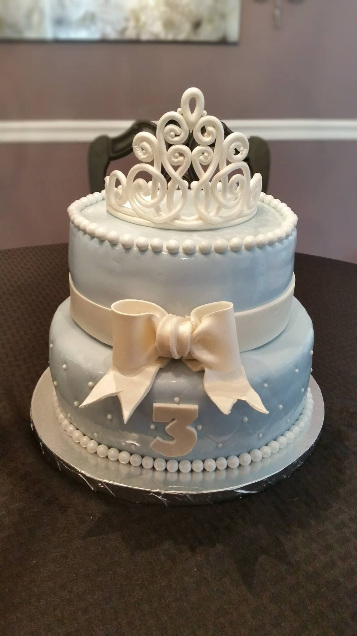 Princess Birthday Cake Fondant, sixlets in pearl white and gumpast crow/bow.