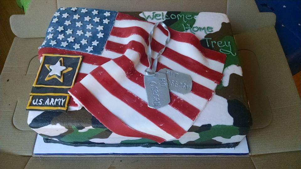 Army Cake This cake was to welcome a soldier home. All is edible. First time doing camo buttercream. All decor was hand cut.
