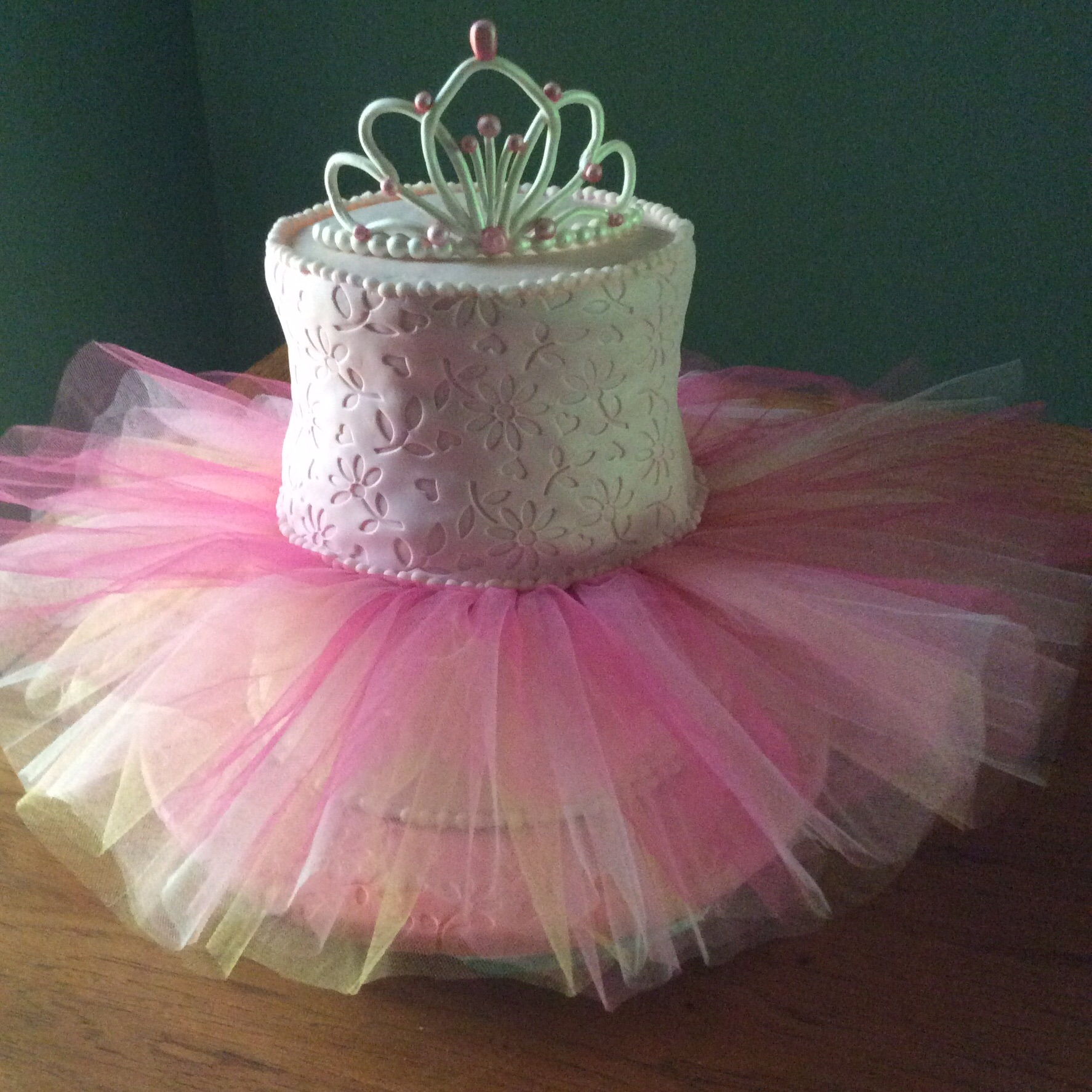 Baby Ballerina   Buttercream cake covered with a tutu. Top tier covered in embossed fondant. Gumpaste tiara spray painted with edible paint.