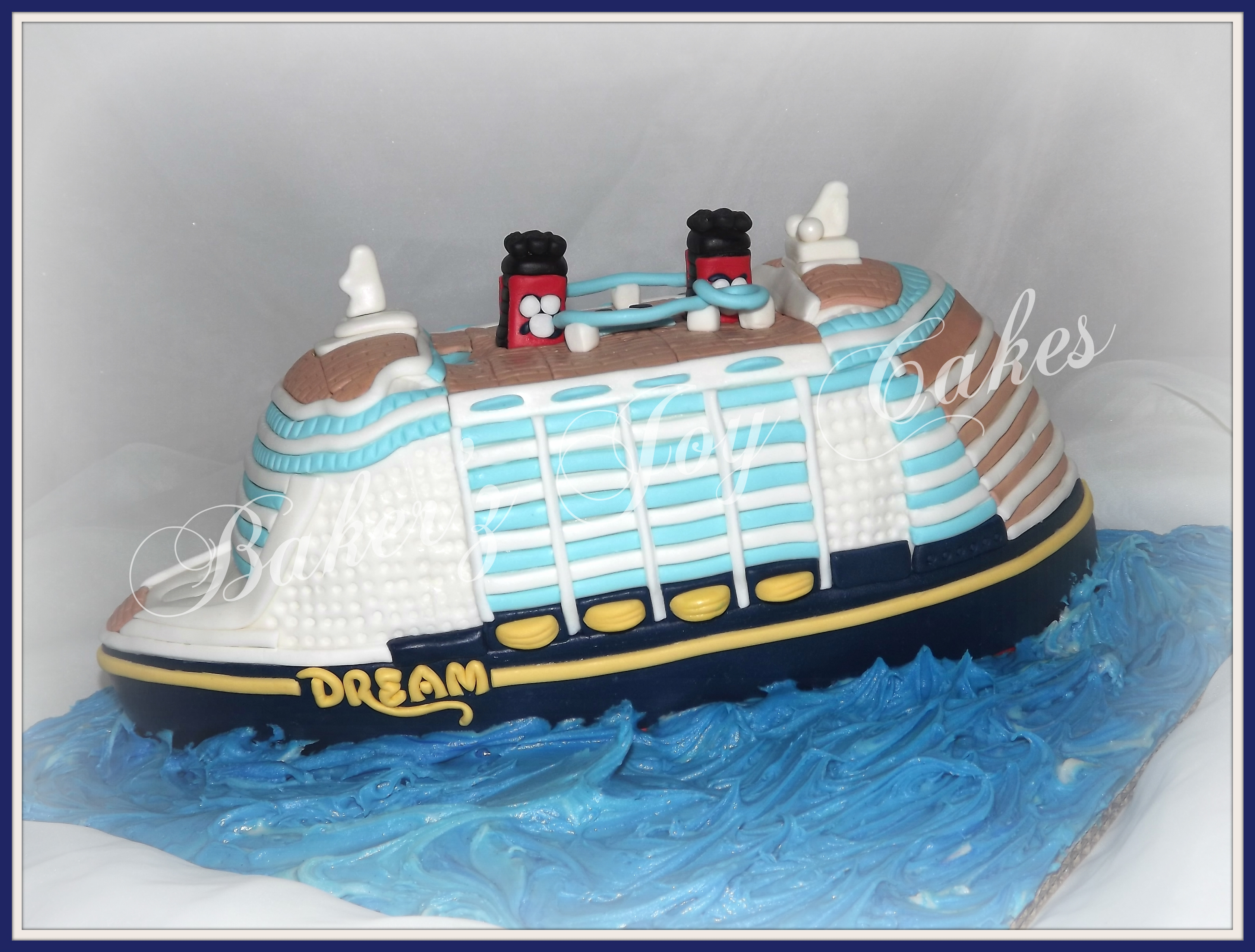 Disney Cruise Ship  My Son Logan, is having a birthday. Thought I'd share the cake he asked me to make..Oh the joys of having a Mom with a custom cake...