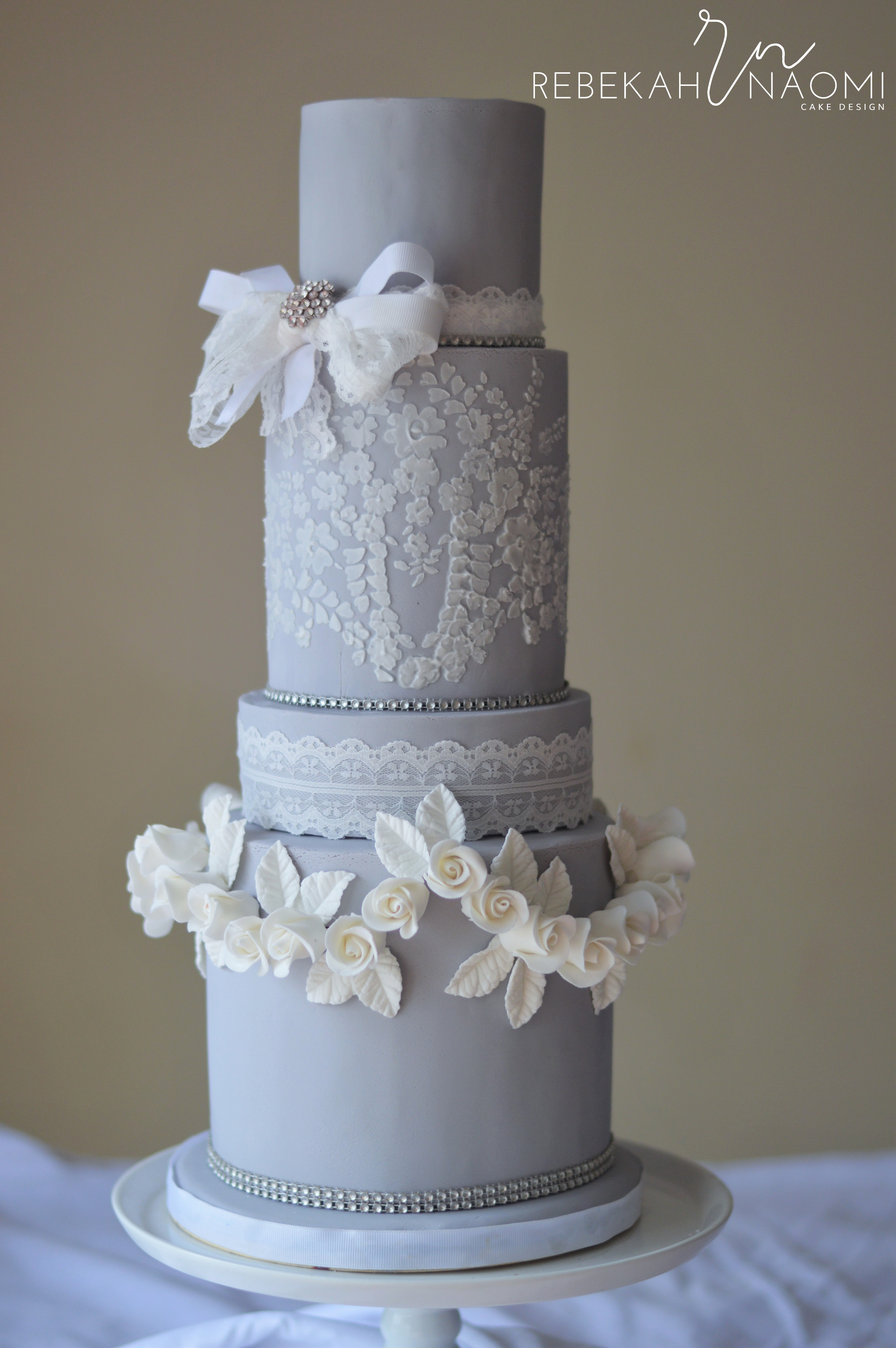 Dove Grey Wedgwood Cake A wedding cake with a wedgwood theme in dove grey and white- soft and romantic.