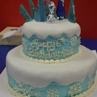 "Frozen Birthday Cake! Marshmallow fondant & buttercream, handmade sugar ""ice"" on the top"