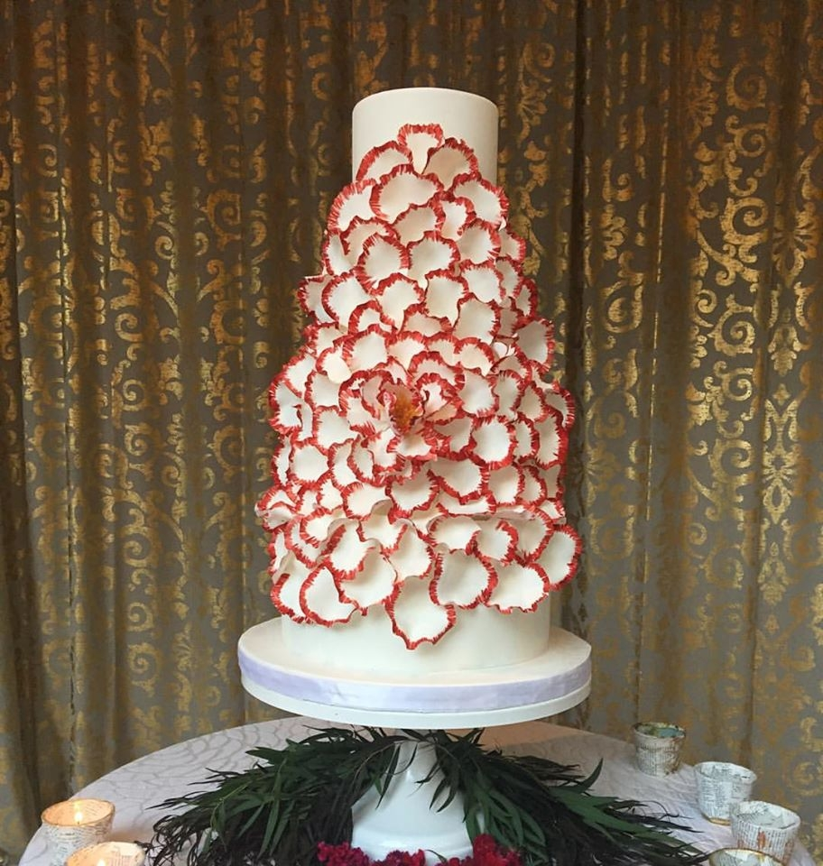 Exploding Peony Wedding Cake Crimson Red exploding sugar peony on a white fondant cake