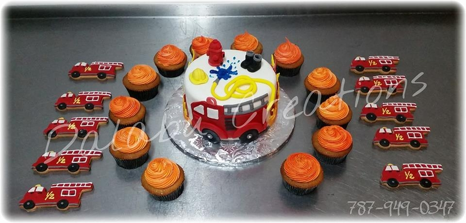 Firefighter Firefighter Cake with cupcakes and cookies