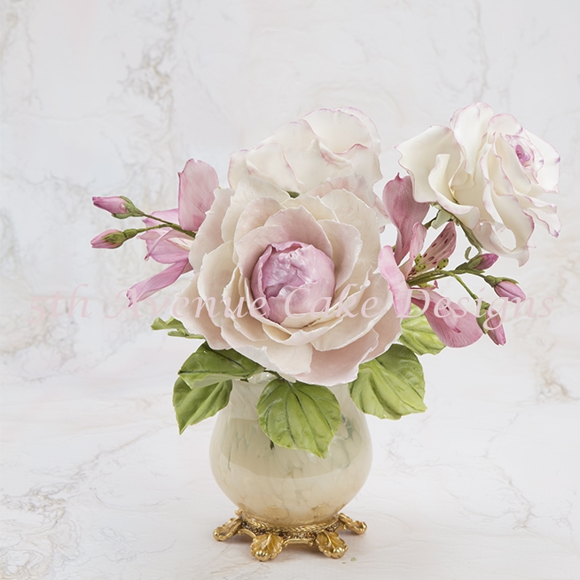 Flower Paste Peony For A Romantic Spray Peonies are xquisite flower for bridal sprays,but they also turn any cake into a show-stopping masterpiece!
