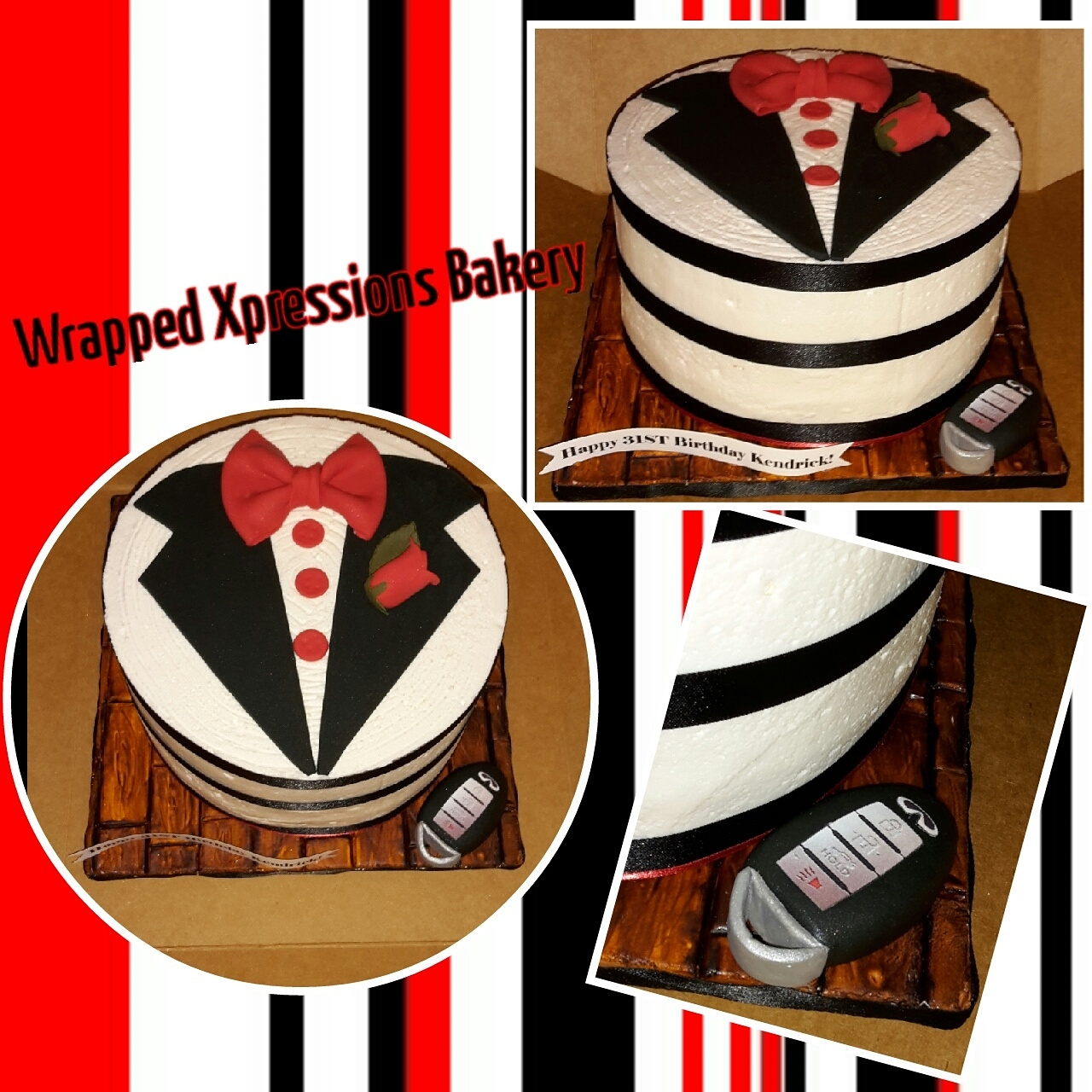"Gentleman's Suit Birthday Cake 8"" buttercream with fondant details suit birthday cake with handmade Infiniti key fob."
