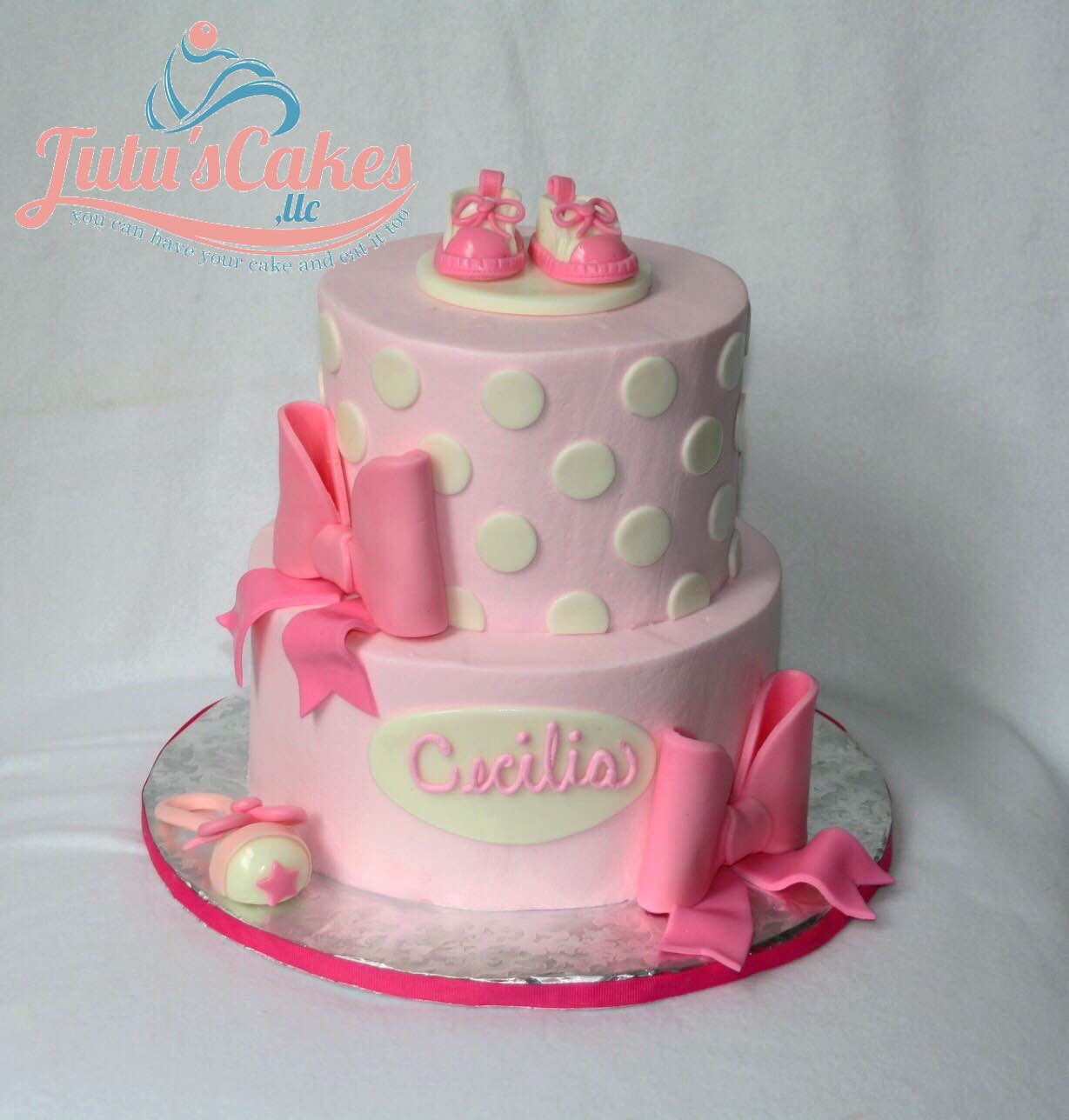 Girl Baby Shower Both tiers iced in buttercream. MMF decorations