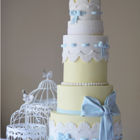 Lemon, White And Baby Blue Cake This is a tiered cake- created for a wedding shoot, though it would make a beautiful baby birthday cake or baby shower cake for a grand...