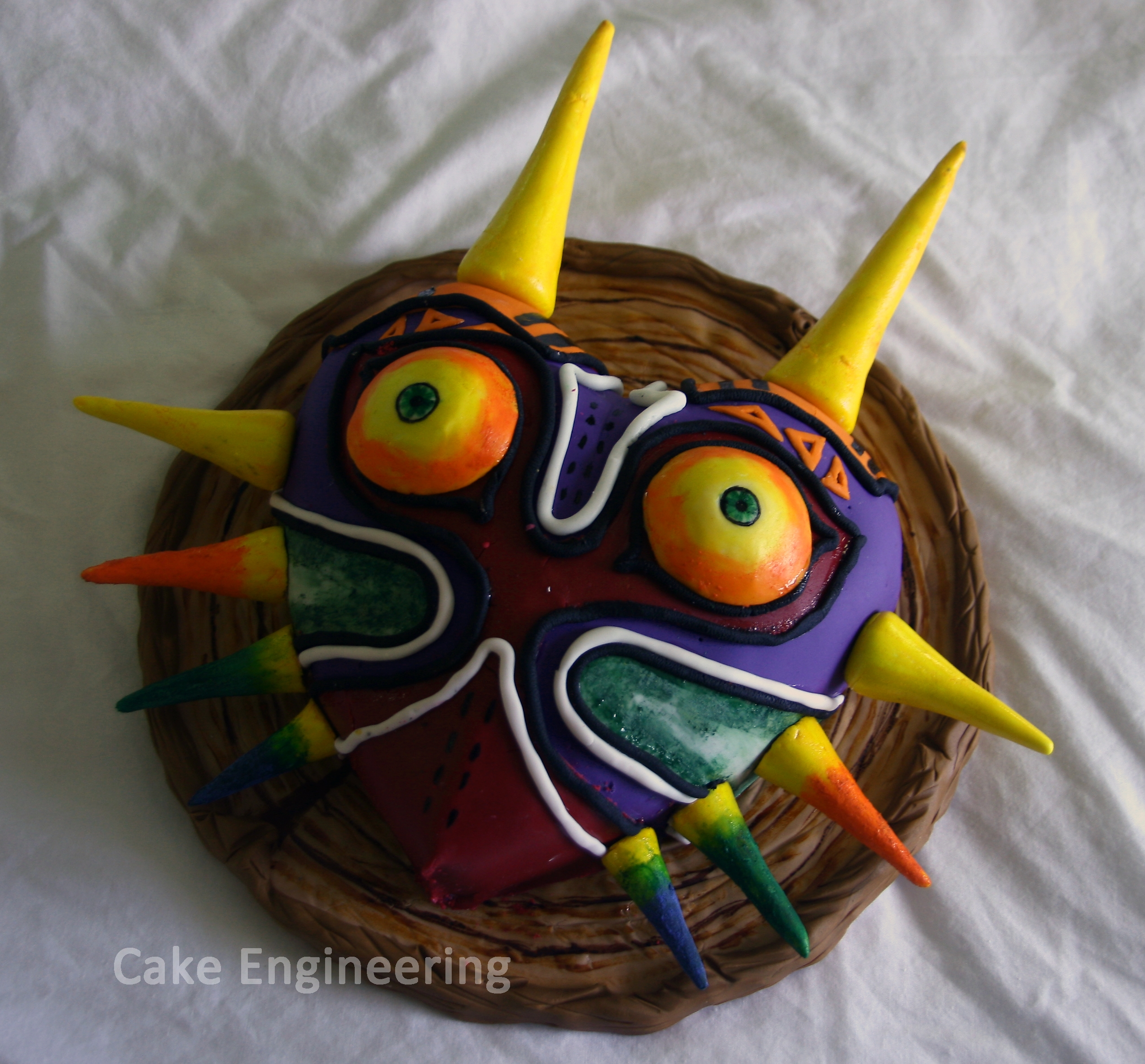 Majora's Mask Cake Red velvet cake with cream cheese frosting. Cake is based on the Majora's Mask from Legend of Zelda