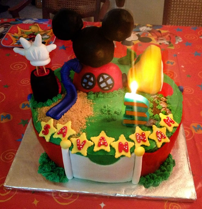 Mini Clubhouse Birthday Cake  This is a mini Mickey Mouse clubhouse cake for a third birthday!! Butter Vanilla cake with rich chocolate pudding. Fondant and RKT topper...