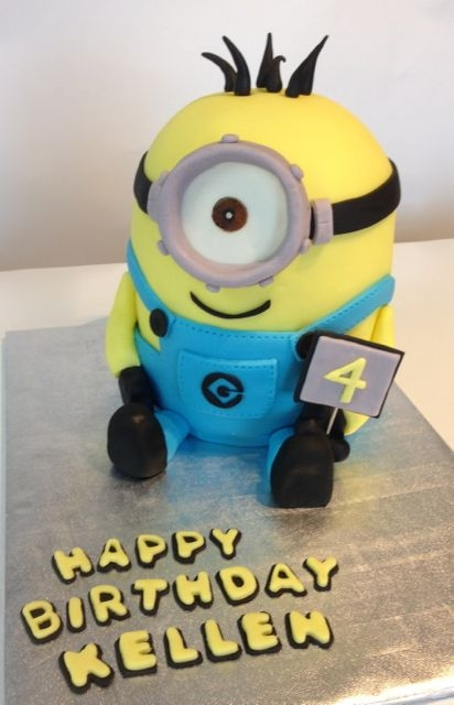 Minion Fondant covered Chocolate/chocolate cake.