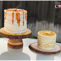 Lumberjack Pancakes! Lumberjack pancakes for a Lumberjack themed 1st birthday! The big stack is made using fondant and the little stack is an all buttercream...