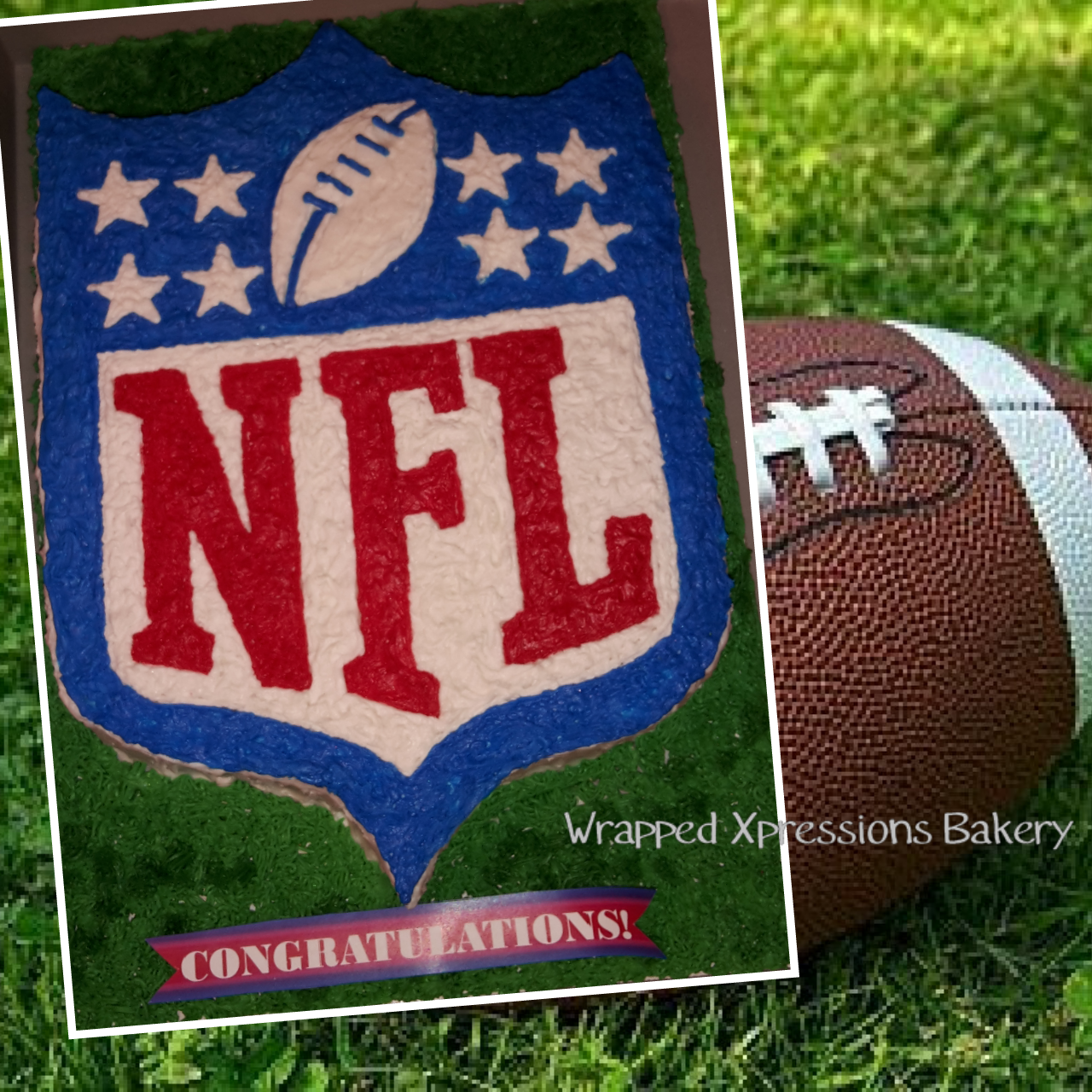 Nfl Logo Cut Out Cake All buttercream NFL logo cake placed on a bed of grass