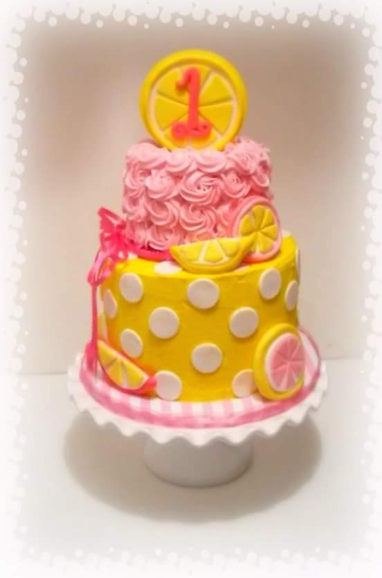 "Pink Lemonade Birthday Cake Pink Lemonade birthday cake for sweet little one year old. the bottom tier is 8"" with a 6"" smash cake for the top tier. Lemon..."