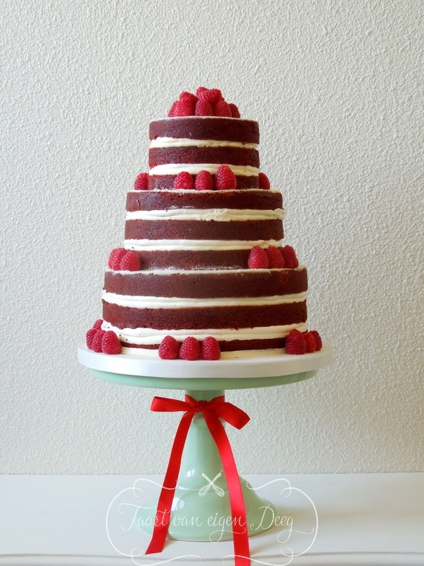 "Red Velvet Naked Cake Red velvet ""naked wedding cake"""