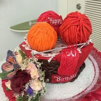 Knitting Basket Birthday Cake Chocolate-walnut cake, gumpaste basket and flowers.