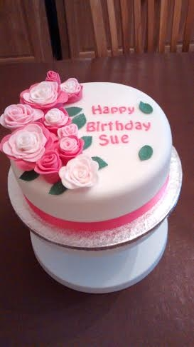 Sue's Birthday Cake A victoria sandwich decorated with fondant and using the FMM easiest ever rose cutter.