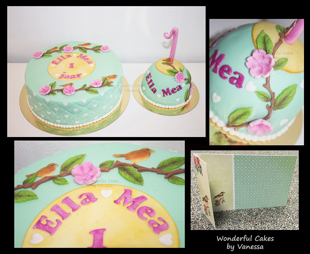Sweet Vintage Cake The first cake of 2016 was this cute cake with matching smash cake for the birthday girl Ella Mea. The cake was made in style of the birth...