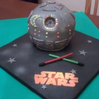 Deathstar Made this for my daughter's boyfriend who was hosting a Star Wars party to celebrate the latest release. Never made a cake this shape...