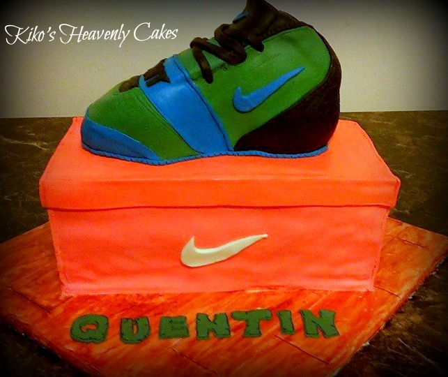Teenage Mutant Ninja Turtle (Leonardo) Nike Cake And Shoebox Chocolate sour cream cakes covered in modeling chocolate (shoe) and fondant (shoebox)