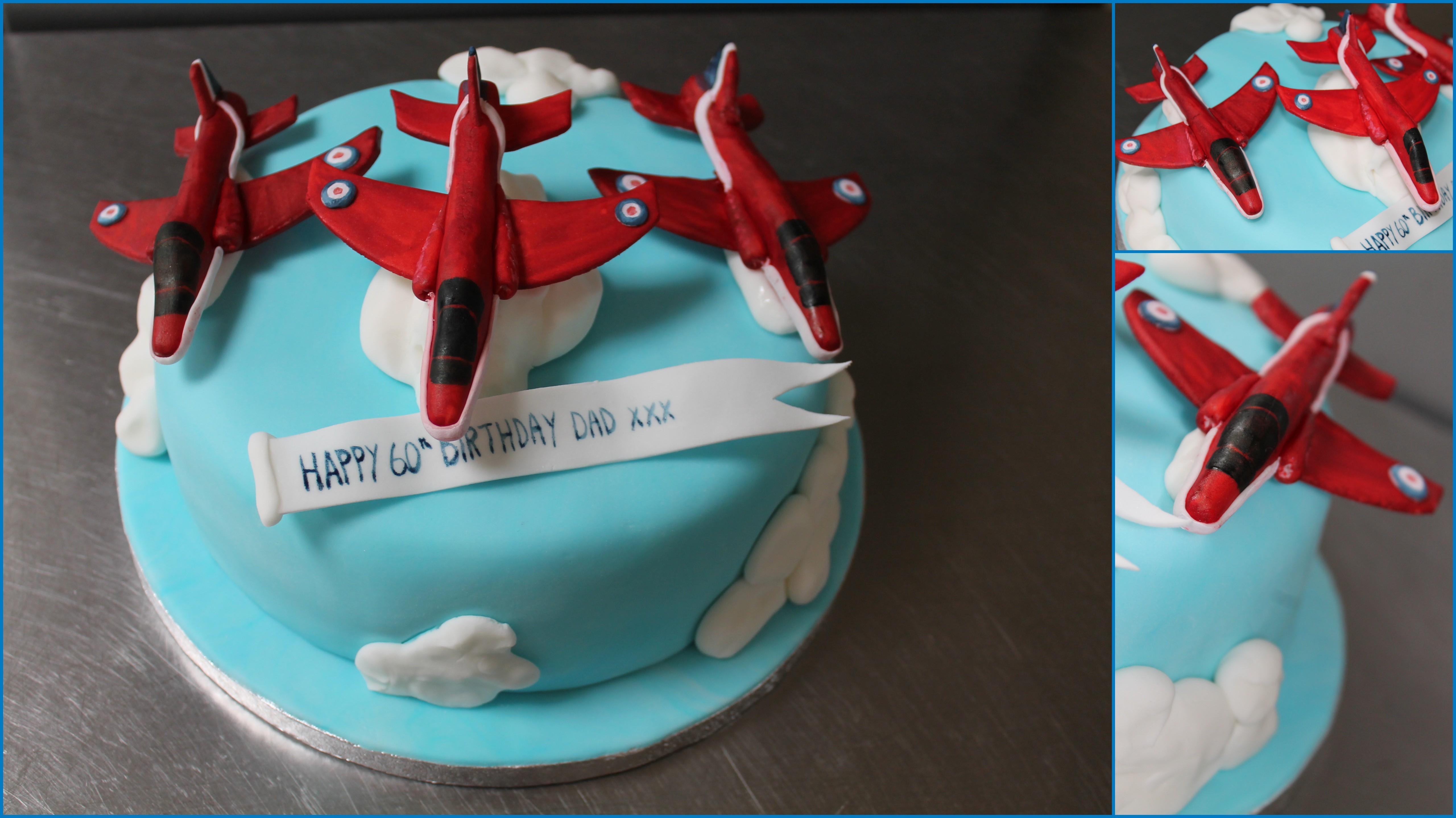 The Red Arrows Or well just three of them ... made from sugar paste
