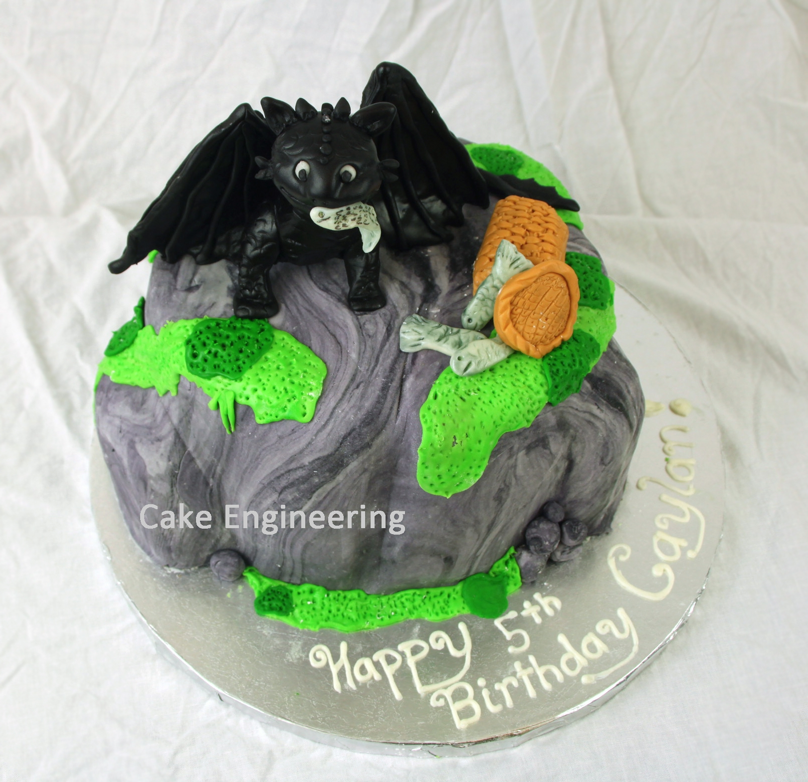 Toothless Cake Toothless from How to Train Your Dragon. Toothless is made from fondant with a wire frame for support.