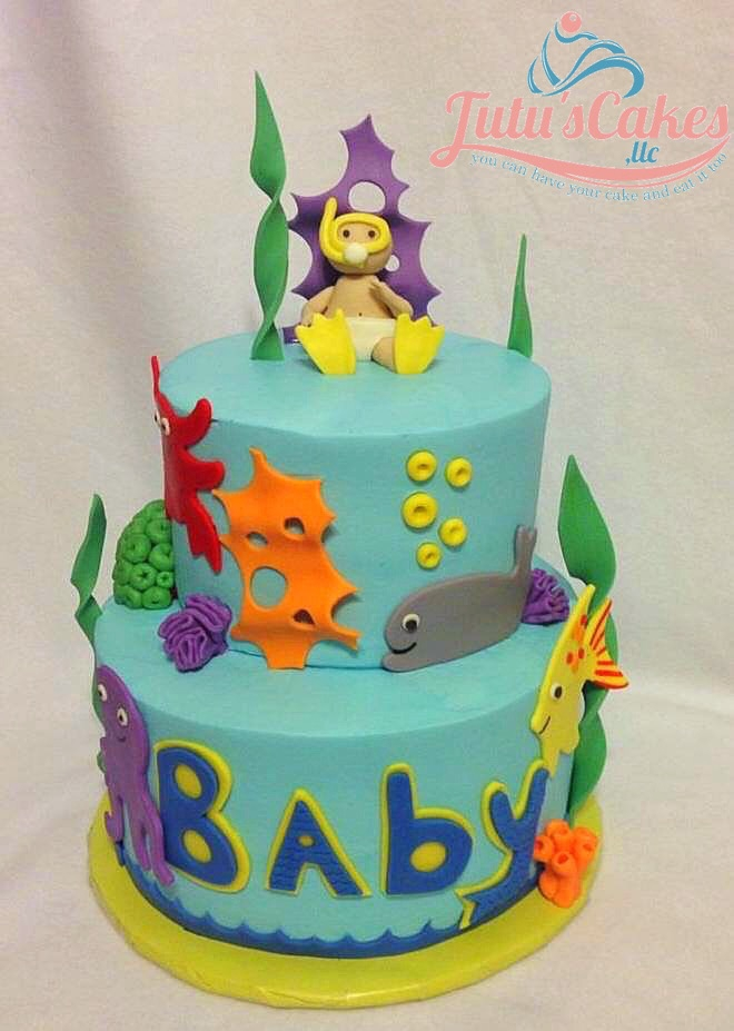 Under The Sea Both tiers iced in buttercream. MMF decorations