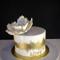 White And Gold Cake White fondant painted with gold luster dust