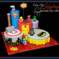 Super Hero Birthday Cake The customer that ordered this cake found a picture on pinterest and asked me to replicate it. The cakes are done in butter cream with...
