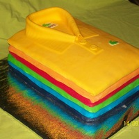 Polo Shirt rainbow cake ,with rainbow colors inside and out