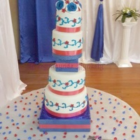 4 Tier Wedding Cake red and blue scroll wedding cake