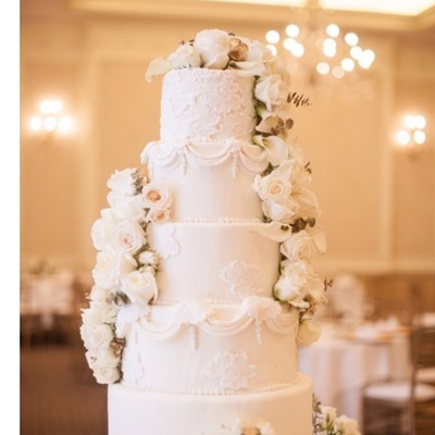 6 Tier White Wedding Cake With Hand Modeled Lace Details And Flowers