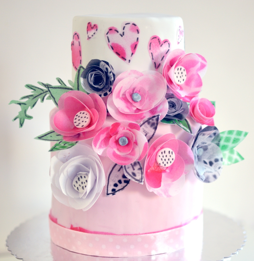 Wafer-Paper Flowers Cake