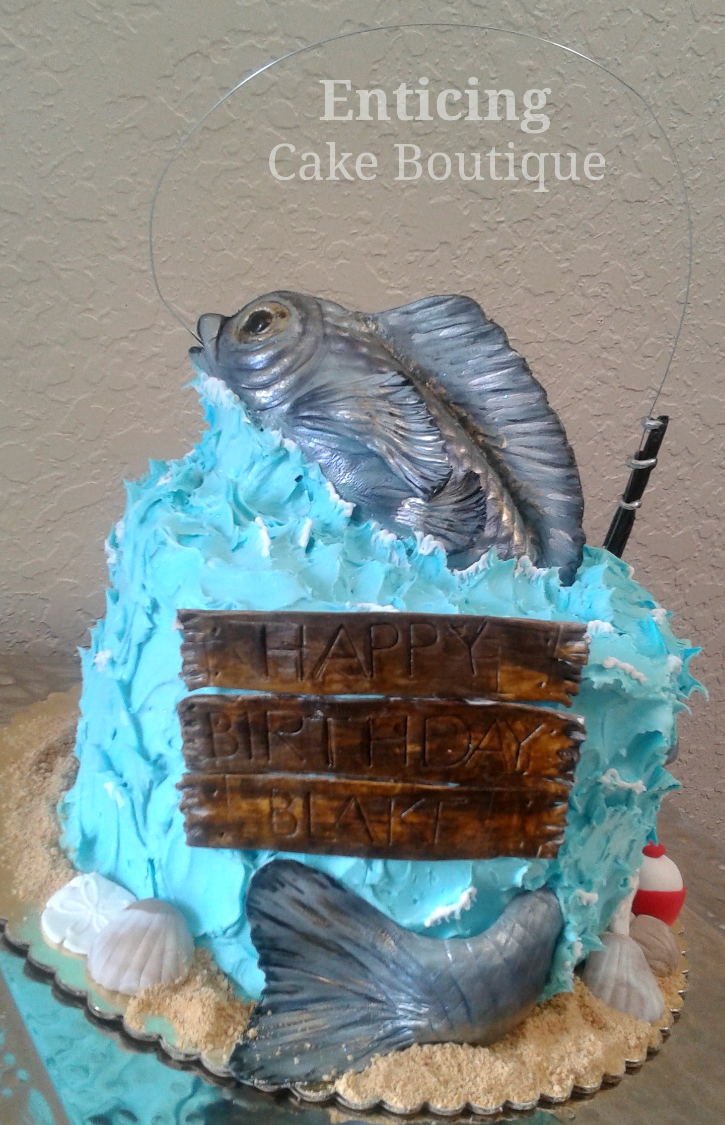 Happy birthday fish for Gone fishing cake