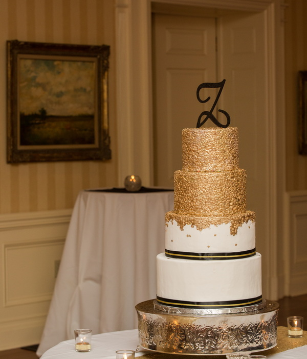Gold Sequin 4 Tier Wedding Cake In Black And Gold