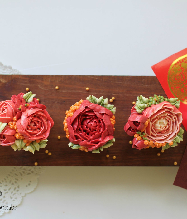 Floral Chinese New Year Cupcakes