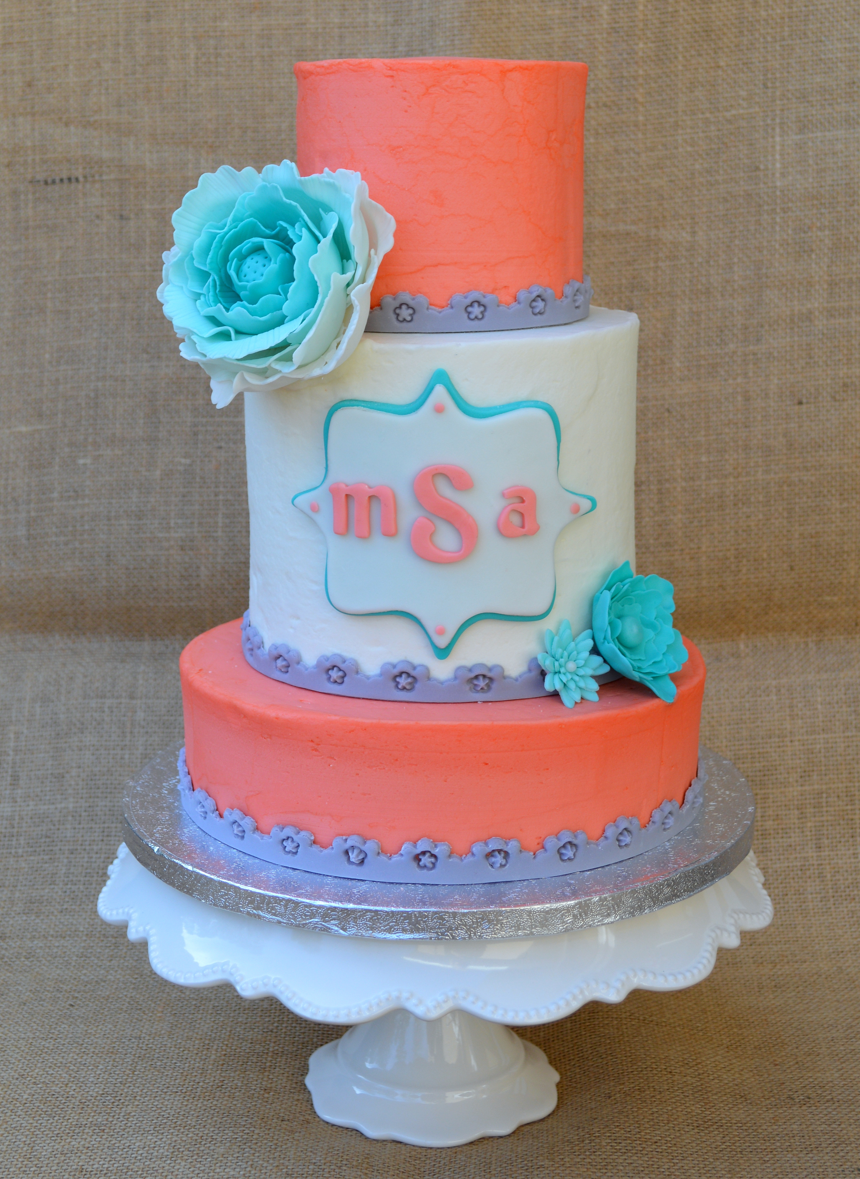 Coral, Gray, And Turquoise Cake