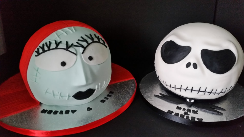 Jack And Sally Wedding Cakes For A Mirfield Customer.