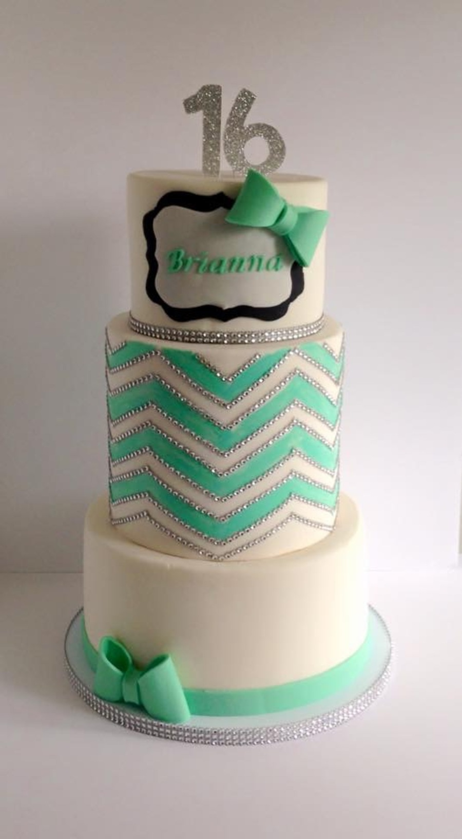 Chevron,rhinestones,sweet 16 Cake on Cake Central