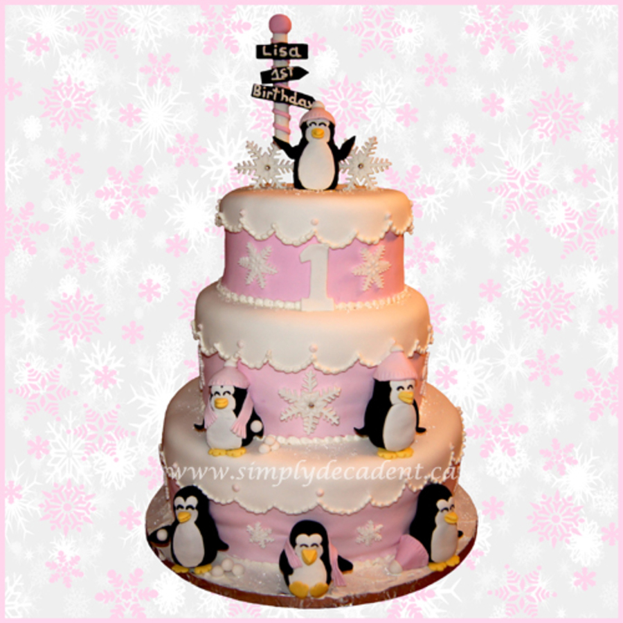 3 Tier Pink Fondant Winter Wonderland Birthday Cake With Hand