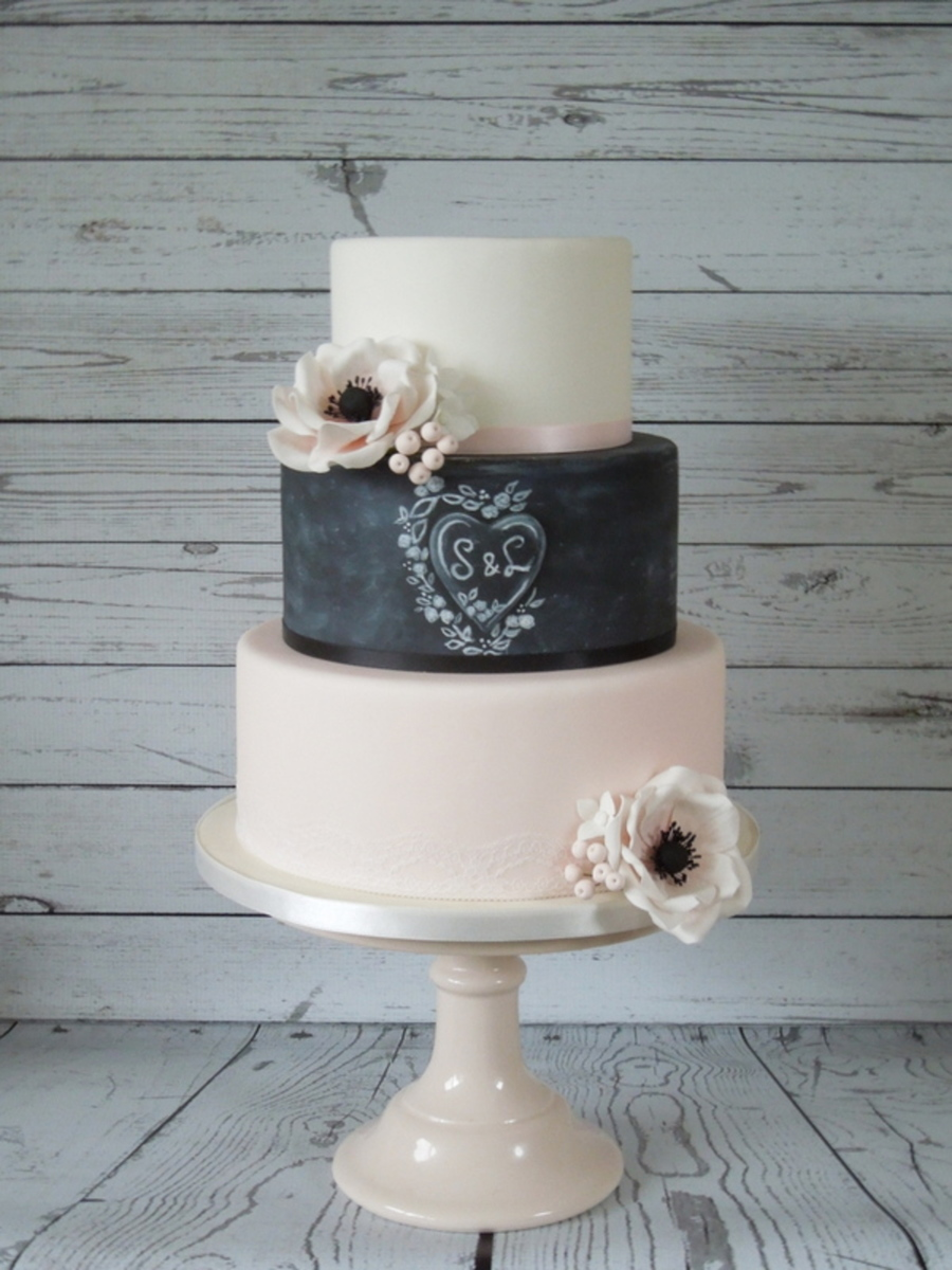 Romantic Chalkboard Weddingcake on Cake Central