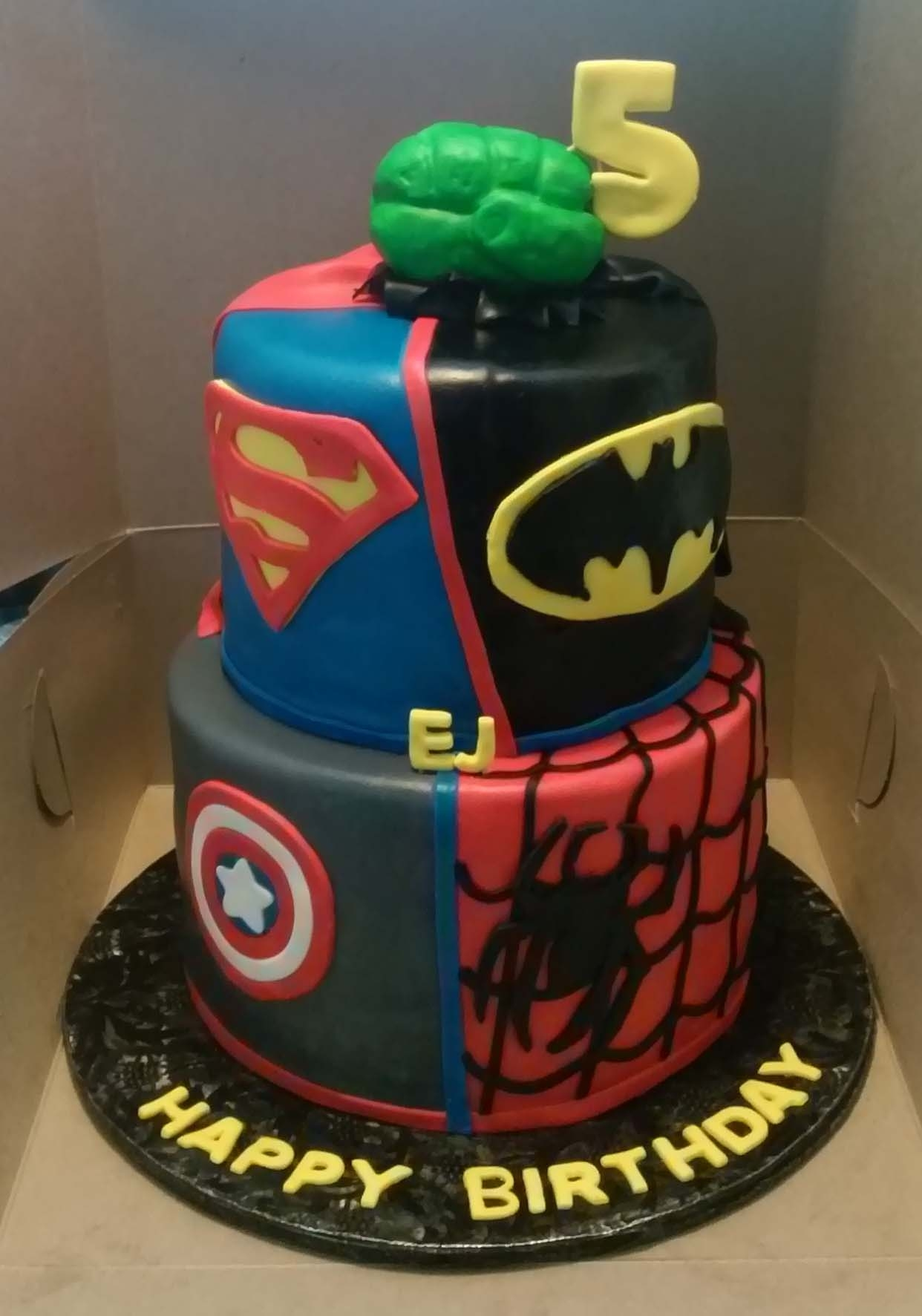 Dc And Marvel Superhero Themed 2 Tier Birthday Cake CakeCentralcom