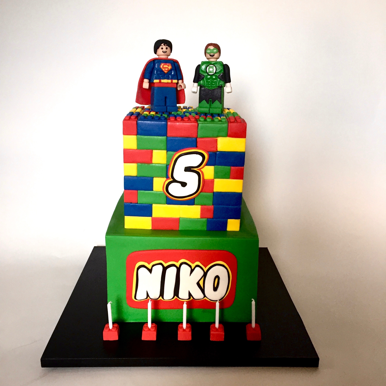 Lego Superman Amp Green Lantern Cake Cakecentral Com
