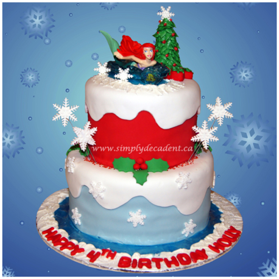 2 Tier Fondant Ariel Little Mermaid Christmas Winter Wonderland