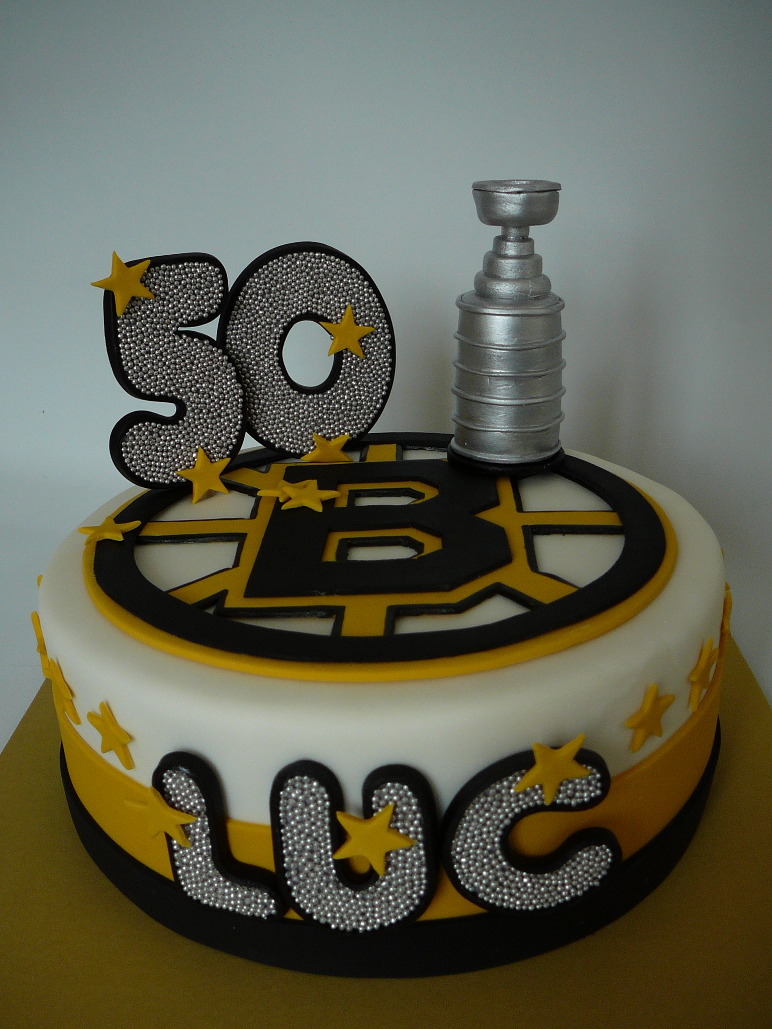 A Perfect Design For Luc Who Turned 50 And Loves The Boston Bruins Chocolate Cake With Buttercream Fondant Decorations Are Also