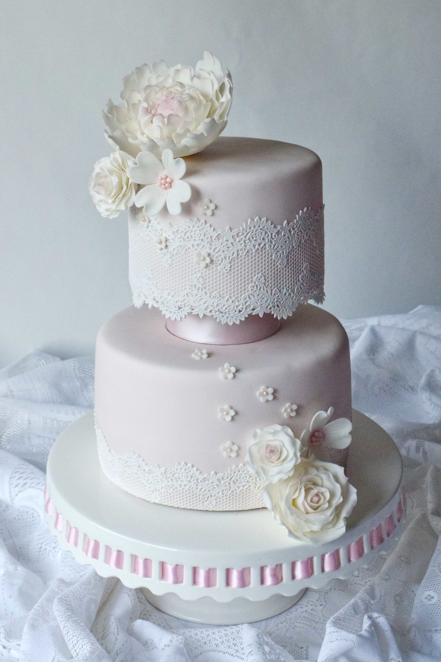 Pretty Pink And Lace on Cake Central