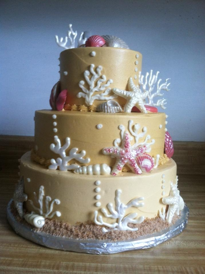 Coral And Seashell Wedding Cake - CakeCentral.com