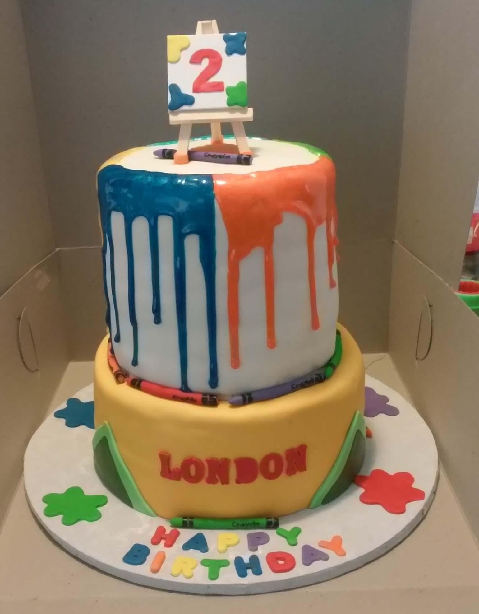 Crayola Crayon Themed 2 Tier Birthday Cake - CakeCentral.com