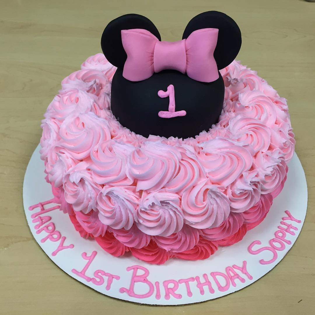 Tremendous Minnie Mouse Rosette First Birthday Cakecentral Com Funny Birthday Cards Online Alyptdamsfinfo