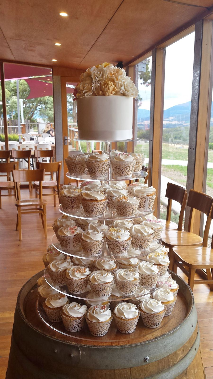 Rustic Wedding Cupcake Tower - CakeCentral.com